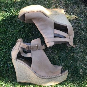 Ugg women's suede wedges with woven detail